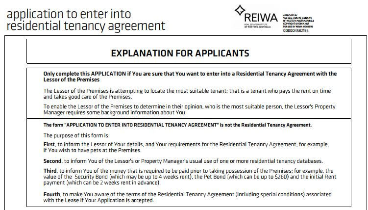 Application To Enter Into Residential Tenancy Agreement Propmart